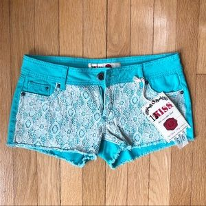 1st Kiss Lace Turquoise Jean Shorts